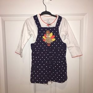 Carter's Navy & White Turkey outfit 18months
